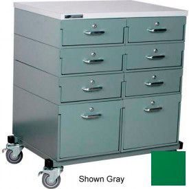 Double Drawer Bank 32 x 24 x 36 Mobile 8 Drawer Cabinet, Laminate Finish - Green