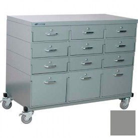 Stackbin® Triple Drawer Bank Mobile 12 Drawer Cabinet, Steel Top Finish, Gray