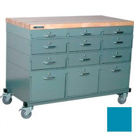 Stackbin® Triple Drawer Bank Mobile 12 Drawer Cabinet, Maple Top Finish, Blue