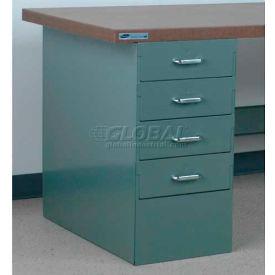 """Stackbin 4 Drawer Pedestal, 4-DCP4-23-GY, 15-1/2""""W X 30""""D X 30-1/4""""H, Gray"""