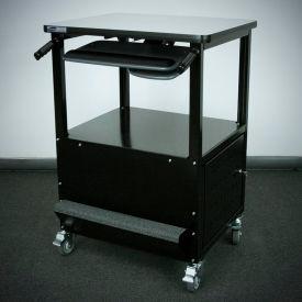 "Stackbin Enclosed Bottom Computer Cart, 30""W x 24""D x 40""H, Black"