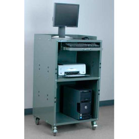 "Stackbin Mobile Computer Cabinet (Open Bottom), 27""W x 24""D x 43""H, Gray"