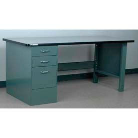 "Stackbin Workbench, Pedestal Bench # 4-16, Plastic Laminate w/T Molding, 48""W X 30""D, Blue"