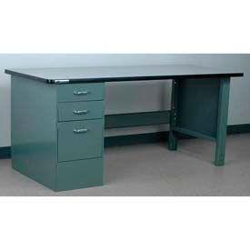 "Stackbin Workbench, Pedestal Bench # 4-23, Plastic Laminate w/T Molding, 60""W X 36""D, Blue"