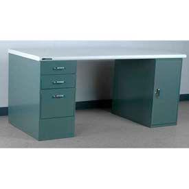 Stackbin Workbench, Pedestal Workbench, PLAS. Laminate Safety Edge, 60