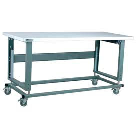"""Stackbin Workbench, 2500 Series, Electric Lift, ESD Square Edge, 60""""W X 36""""D, Gray"""