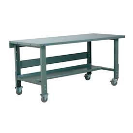 "Stackbin Workbench, 3512 Series, Steel Square Edge, 60""W X 36""D, Gray"