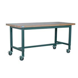 "Stackbin Workbench, 1012 Series, Maple Butcher Block Square Edge, 48""W X 30""D, Gray"