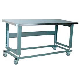 "Stackbin Workbench, 2500 Series, Electric Lift, Hardboard Over Stainless, 60""W X 30""D, Blue"