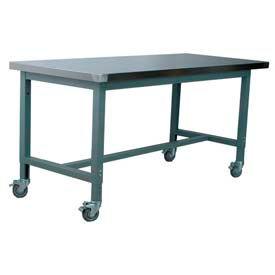 "Stackbin Workbench, 1012 Series, Hardboard Over Stainless, 72""W X 30""D, Blue"