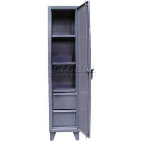 Strong Hold® Locker 1.65.6-183-2DB - Single Tier 18x18x72,  3 Adjustable Shelves, 2 Drawers