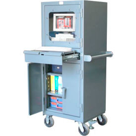 "Strong Hold Mobile Industrial Computer Cabinet with Retractable Keyboard 26""W x 24""D x 68""H"