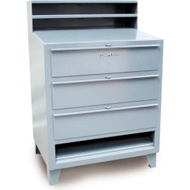 """36""""W x 28""""D 3 Drawer Desk with Paper Compartment - Gray"""