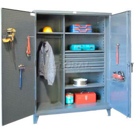 Strong Hold® Combination Cabinet 56-W-244-4DB-PB - w/Drawers and Pegboard Doors 66 x 24 x 78