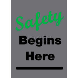 "NoTrax® Safety Message Mat, Safety Begins Here, 3/8"" Thick, 3'x5', Charcoal"