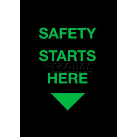 """NoTrax® Safety Message Mat, Safety Starts Here, 3/8"""" Thick, 3'x5', Black"""