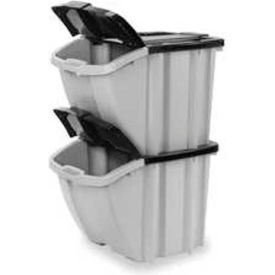 Bins Totes Containers Stacking Suncast Bh1888102pk 18 Gallon Hopper Bin Gray W Black Lid Price Each Sold In Pack Of 2 Pkg