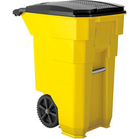 Suncast Commercial Wheeled Trash Can with Lid, 50 Gallon, Yellow - BMTCW50Y