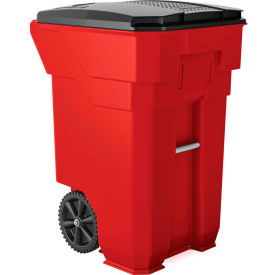 Suncast Commercial Wheeled Trash Can with Lid, 65 Gallon, Red - BMTCW65R