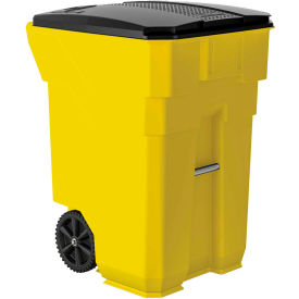 Suncast Commercial Wheeled Trash Can with Lid, 96 Gallon, Yellow - BMTCW96Y