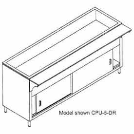 """Coldpan Table, 62.375""""L 4-Pan Size, S/S Cabinet Base w/Sliding Doors"""