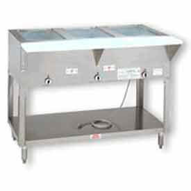 "Hot Food Table, Electric, 47.125""L (3) 12"" x 20"" Wells, S/S Open Base 208V by"