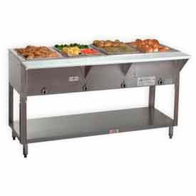 "Portable Hot Food Table, Natl Gas, 62.375""L (4) 12X20 Wells, S/S Open Base by"