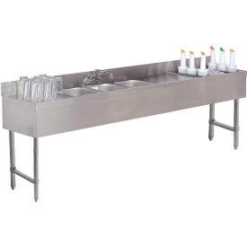 "Combo Unit, 3 Comp Sink 18X84 (2) 12"" Drainboards, 24"" Cocktail Unit Right"