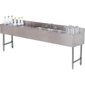 """Combo Unit, 4 Comp 18X96 w/ (2) 12"""" Drainboards, 24"""" Cocktail Station Left Side"""