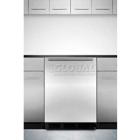 Summit ALB653BSSHH - ADA Comp Built-In Refrigerator-Freezer, S/S Door, Hh Handle, Black Sides