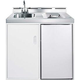 "Summit C39GLASS - 39"" W Combo Kitchen, Smooth top Burners, Manual Def Refrigerator-Freezer, Sink"