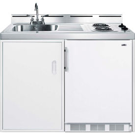 "Summit 48"" W All-In-One Kitchen, Two Coil Burners, Cycle Def Refrigerator-Freezer, Sink, Cabinet"