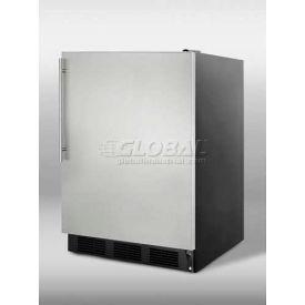 Summit CT66BSSHV - Freestanding Refrigerator-Freezer, Cycle Defrost, Black, S/S Door, Thin Handle