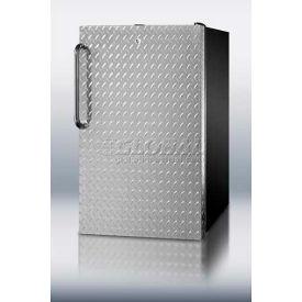 Summit FF521BLDPL Counter Height All Refrigerator W/Lock 4.1 Cu. Ft. Black/Diamond Plate