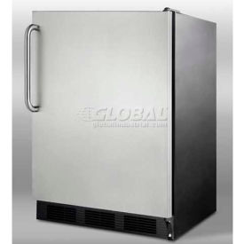 Summit FF7BSSTBADA - Freestanding All-Refrigerator, Black Exterior, S/S Door, Towel Bar Handle