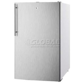 "Summit FS407LBI7SSHV - 20""W Built-In Undercounter All-Freezer, Lock, S/S Door, Thin Handle, White"