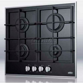 Summit GC424BGL - 4-Burner Gas-On-Glass Cooktop, Sealed Burners, Cast Iron Grates