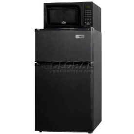 Summit Refrigerator-Freezer-Microwave Combination Unit With Cycle Defrost And Black Finish Black