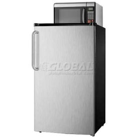 Summit Compact Refrigerator-Freezer-Microwave Combination With Auto Defrost, Black