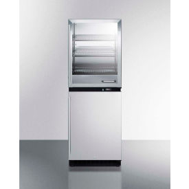 Summit RFBW64 Fully Assembled Warming Cabinet and All-Refrigerator Stacked Combination