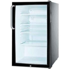 "Summit SCR500BL7CSS - 20""W Glass Door All-Refrigerator, Built-In Auto Defrost, Lock, SS Cabinet"