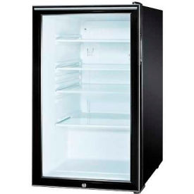 "Summit SCR500BLBI7HHADA - ADA Comp 20""W Glass Door All-Refrigerator For Built-In Use, Lock, BK"
