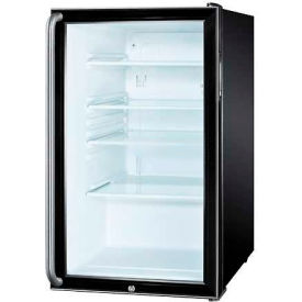 "Summit SCR500BLBI7SH - 20""W Glass Door All-Refrigerator For Built-In Use, Lock, Long, BK"