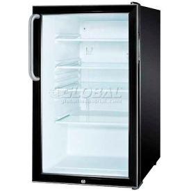 "Summit SCR500BLBI7TB - 20""W Glass Door All-Refrigerator For Built-In Use, Auto Defrost, Lock,"