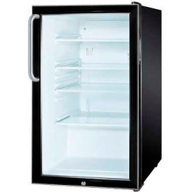"Summit SCR500BLBI7TBADA - ADA Comp 20""W Glass Door All-Refrigerator For Built-In Use, Lock,, BK"
