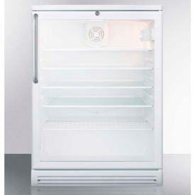 Summit SCR600LBITB - Commercial Built-In Beverage Refrigerator, White, Glass Door, Lock, TB Handle