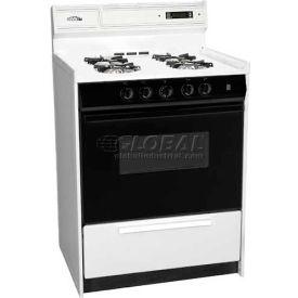 "Summit WNM6307DK - DLX Gas Range, Slim 24""W, Electronic, Black Glass Oven Door, White Porcelain Top"