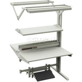 "DSA W/Steel Shelf, 6 Outlet Power, 2-Bulb Light, Footrest W/PF ESD Laminate, 48""W X 60""D X 75-3/5""H"