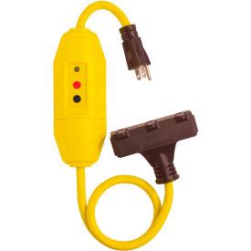 GFCI Cord Set 30438024, In-Line, Triple Tap, Auto, 2 FT, Yellow