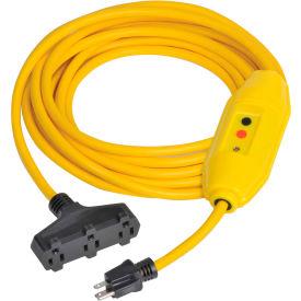 GFCI Cord Set 30438302-01, In-Line, Triple Tap, Auto, 25 FT, Yellow